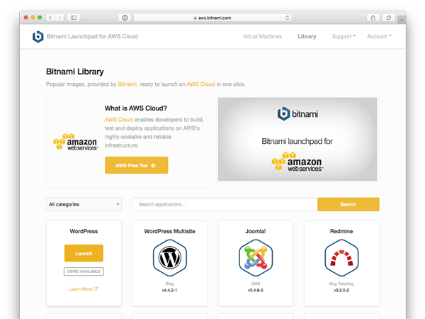Amazon Web Services app selection