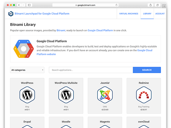 Google Cloud Platform app selection