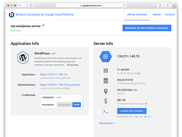 Running instance in Google Cloud Platform