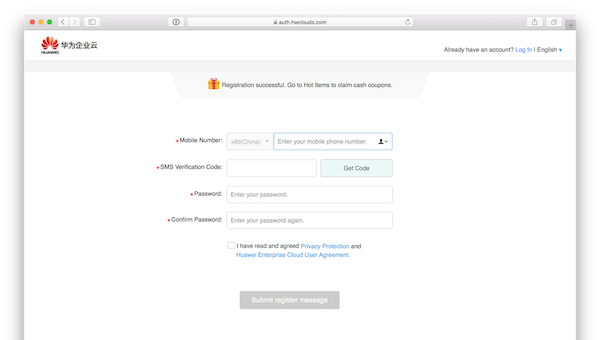 Huawei Enterprise Cloud registration page