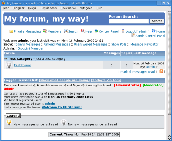 Fudforum new installation